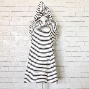 Akini Striped Sleeveless Hooded Tunic Cover Up